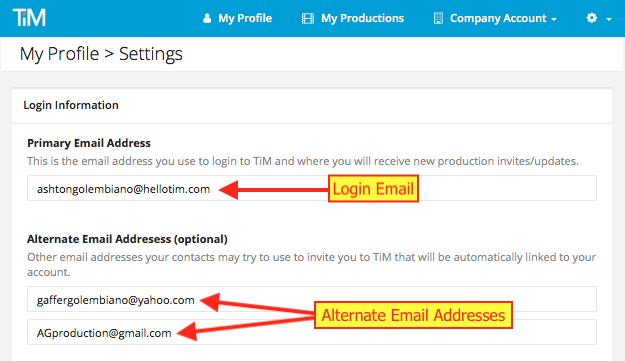 Screenshot Profile > Settings > Change email address